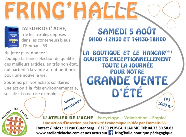GRANDE VENTE SOLIDAIRE D'ÉTÉ à la boutique FRING'HALLE