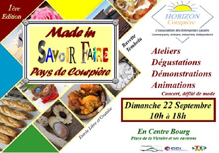 "Emplacements salon du savoir faire ""Made in Pays de Courpière"" 22 septembre 2019 de 10h à 18h en Centre Bourg de la ville"